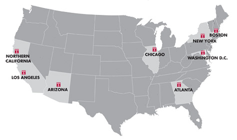 Temple University Regional Alumni Club Map